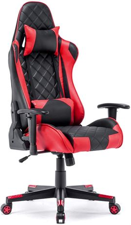Dj Wang #LK-2269 Synthetic Leather Gaming Office Chair in Red / Black - AZ2 W2-N