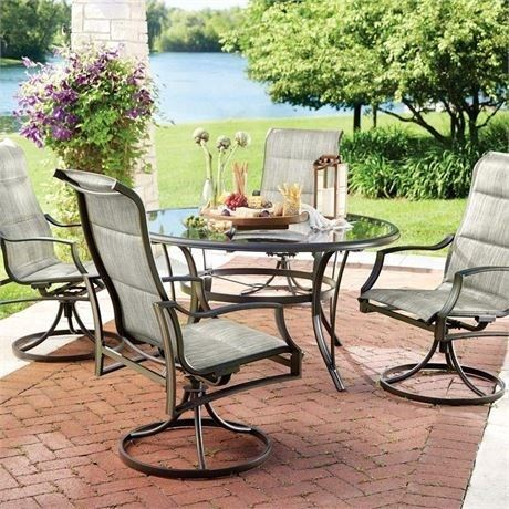Hampton Bay Statesville 5Pc Padded Sling Patio Dining Set &53-inch Glass Top -E5