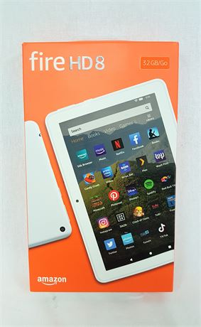 Amazon Fire HD8, 8-inch 10th Generation Tablet in White, 32 GB - 00-N